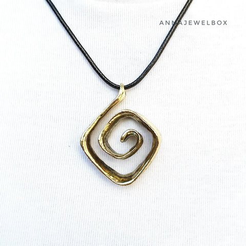 Gold Silver Bohemian Spiral Necklace