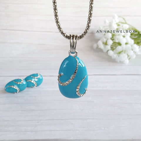 Image of Bright Enamel Crystal Necklace Earrings Set - AnnaJewelBox