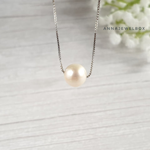 Ivory White Round Freshwater Pearl 925 Sterling Silver Necklace - AnnaJewelBox