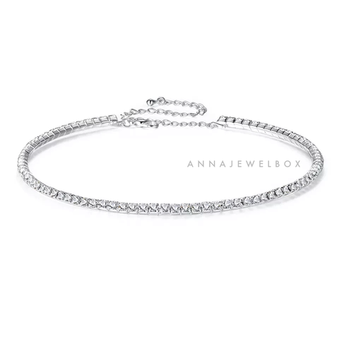 2 Rows Diamante Silver Choker Necklace - AnnaJewelBox
