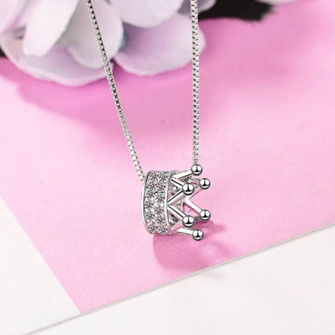 925 Sterling Silver Diamante Queen Crown Necklace - AnnaJewelBox