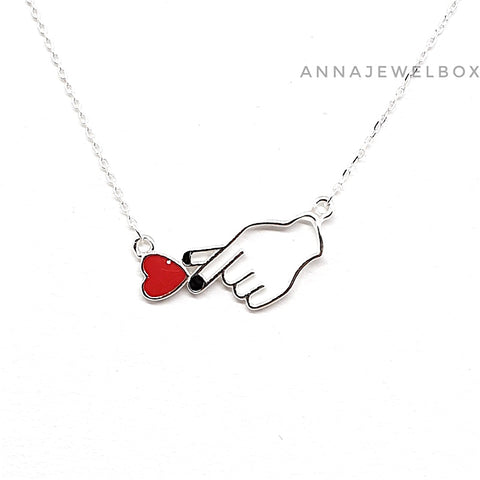 Image of 925 Sterling Silver Korean Music Fangirl Kpop Love Necklace - AnnaJewelBox