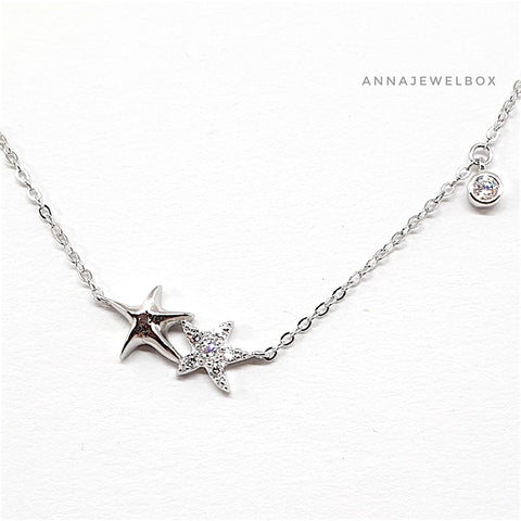 Image of 925 Sterling Silver Crystals Cute Double Stars Necklace - AnnaJewelBox