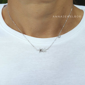 925 Sterling Silver Crystals Cute Double Stars Necklace - AnnaJewelBox