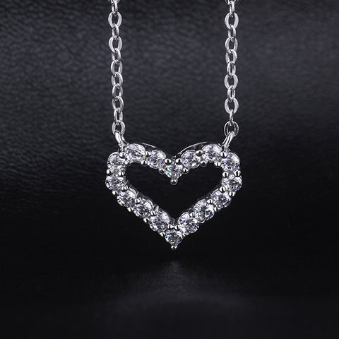 Image of Sparkling Heart 925 Sterling Silver Swarovski Crystal Necklace - AnnaJewelBox