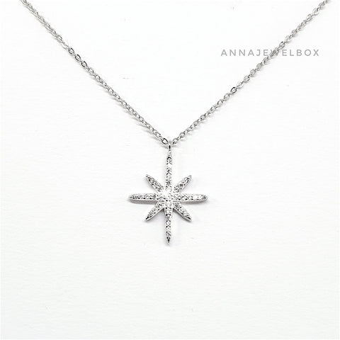925 Sterling Silver Star Necklace - AnnaJewelBox