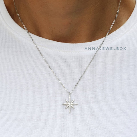925 Sterling Silver Diamante Star Necklace - AnnaJewelBox
