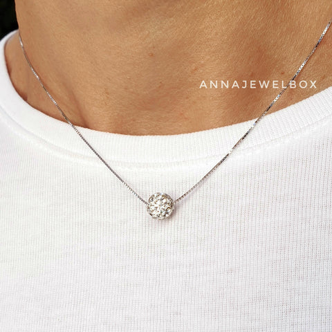 Image of 925 Sterling Silver White Diamante Crystals Adorned Necklace - AnnaJewelBox
