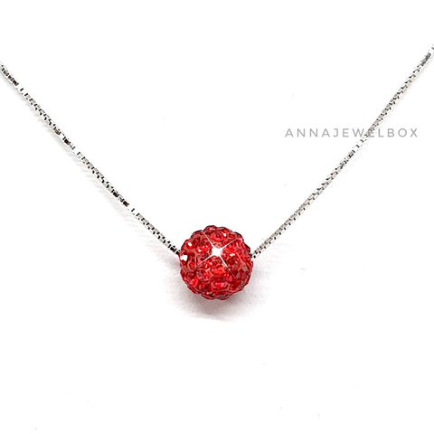 Image of 925 Sterling Silver Red Diamante Crystal Adorned Necklace - AnnaJewelBox