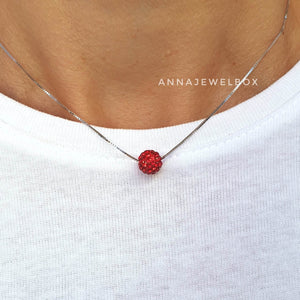925 Sterling Silver Red Diamante Crystal Adorned Necklace - AnnaJewelBox