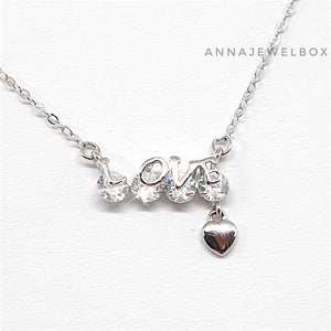 925 Sterling Silver Crystal Adorned Love Pendant Necklace - AnnaJewelBox