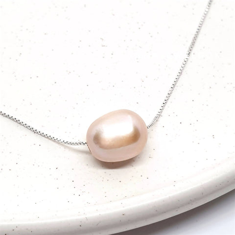 Image of 925 Sterling Silver Pink Natural Freshwater Pearl Necklace - AnnaJewelBox