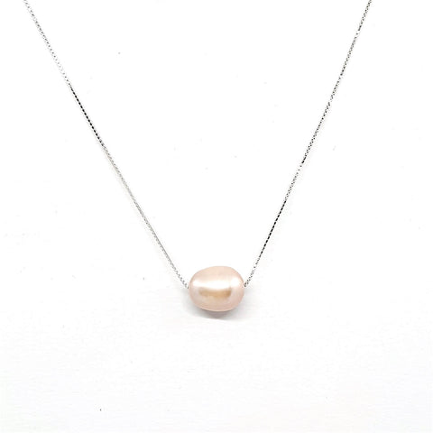 925 Sterling Silver Pink Natural Freshwater Pearl Necklace - AnnaJewelBox