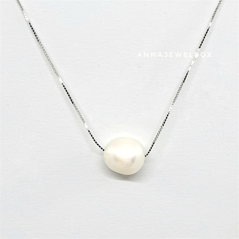 Image of 925 Sterling Silver White Freshwater Pearl Necklace - AnnaJewelBox