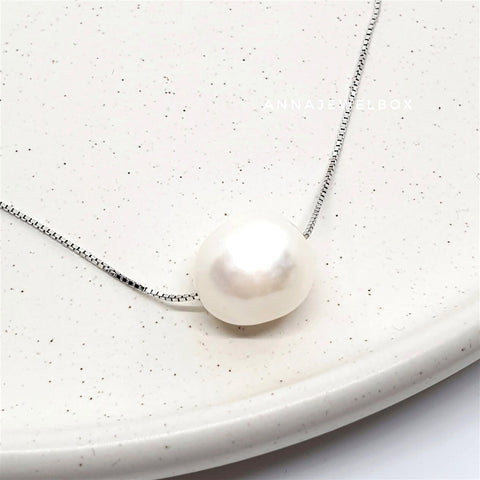 925 Sterling Silver White Freshwater Pearl Necklace - AnnaJewelBox