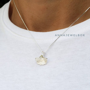 """Life"" 925 Sterling Silver Gingko Leaf Necklace - AnnaJewelBox"