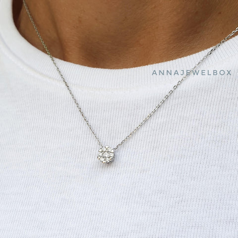 Image of Little Star 925 Sterling Silver Diamante Necklace - AnnaJewelBox
