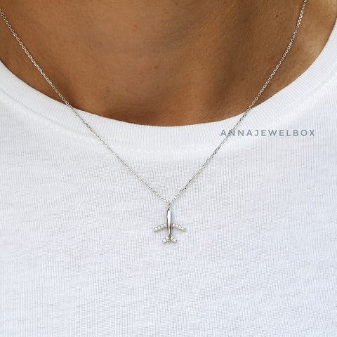 Image of Airplane 925 Sterling Silver Necklace - AnnaJewelBox