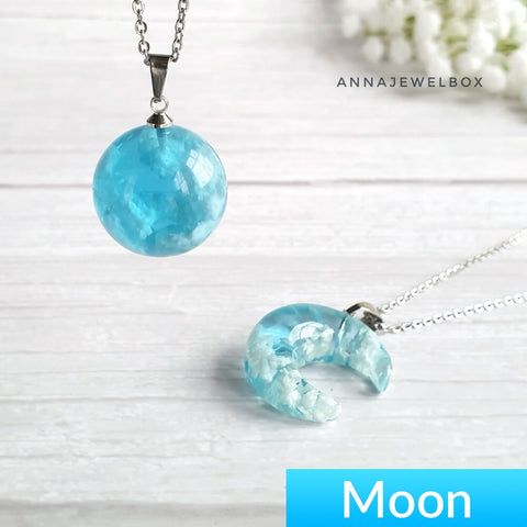 925 Sterling Silver  Blue Crescent Moon and Earth Pendant Necklace - AnnaJewelBox