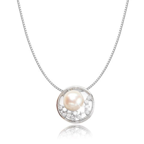 Constellation Pearl 925 Sterling Silver Diamante Crystal Adorned Necklace - AnnaJewelBox