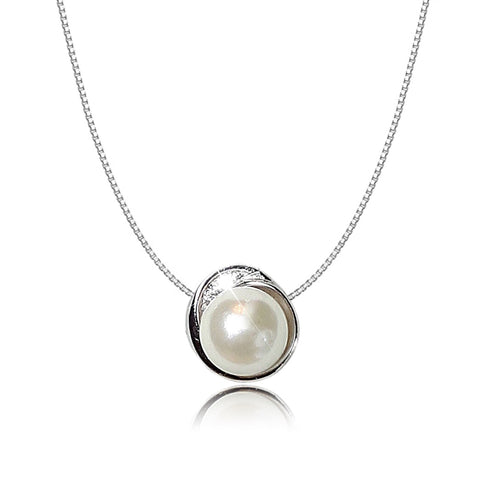 Image of Sparkling Pearl 925 Sterling Silver Diamante Crystal Adorned Necklace - AnnaJewelBox