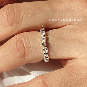 Sparkling Diamante Crystals Silver Plated Elastic Rings 1-2-3 Rows - AnnaJewelBox