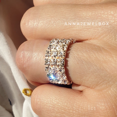 Image of Sparkling Diamante Crystals Elastic Rings 1-2-3 Rows - AnnaJewelBox