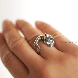 Magical Silver Cat Ring - AnnaJewelBox