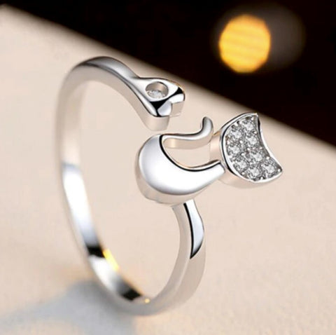 Image of 925 Sterling Silver Cat Ring - AnnaJewelBox
