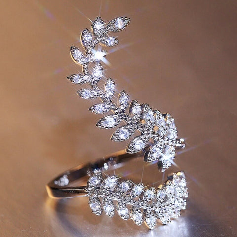 Image of Diamante Sparkling Fern Ring - AnnaJewelBox