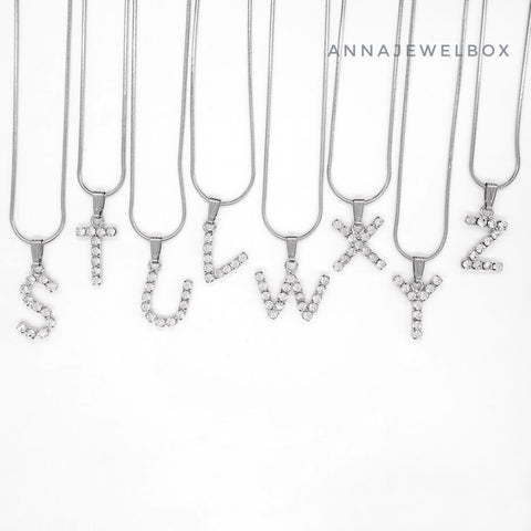 Silver Plated Single Letter Alphabet Initial Necklace - AnnaJewelBox