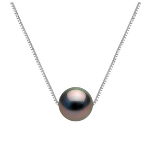 Black Round Freshwater Pearl 925 Sterling Silver Necklace - AnnaJewelBox