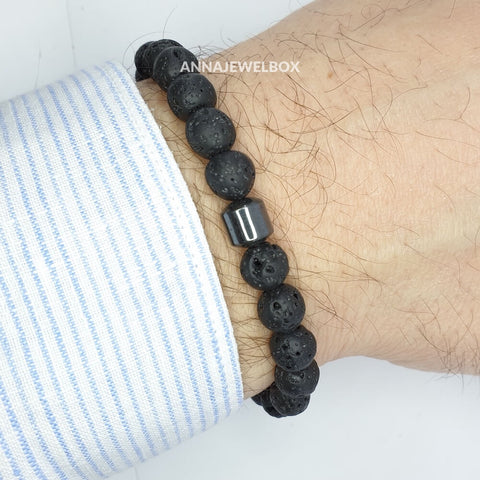 Hematite and Lava Stretch Bracelet for Men - AnnaJewelBox