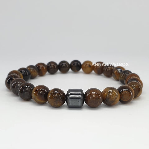 Hematite and Tiger Eye Stretch Bracelet for Men - AnnaJewelBox