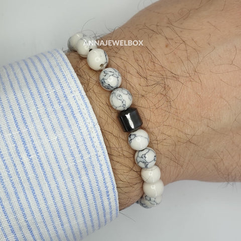 Hematite and Howlite Stretch Bracelet for Men - AnnaJewelBox