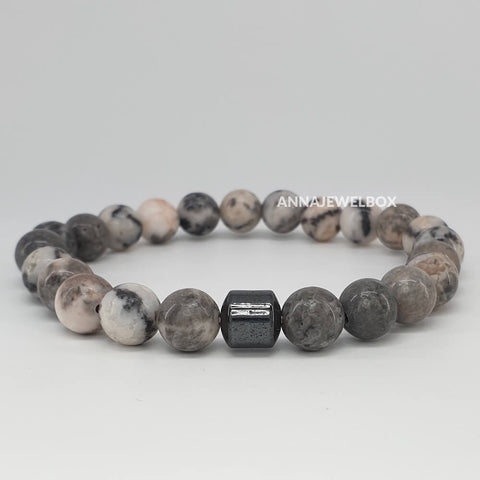 Hematite and Grey Howlite Stretch Bracelet for Men - AnnaJewelBox