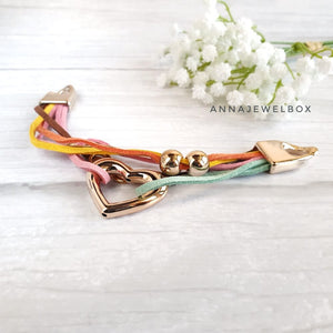 Bright Gold Heart Summer Bracelet - AnnaJewelBox