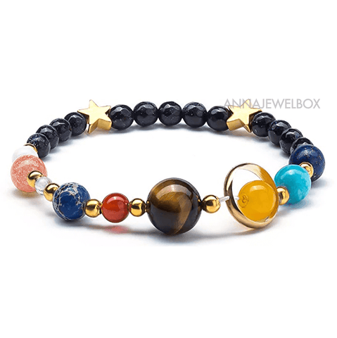 Image of 9 Planets Solar System Natural Stone Bracelet - AnnaJewelBox