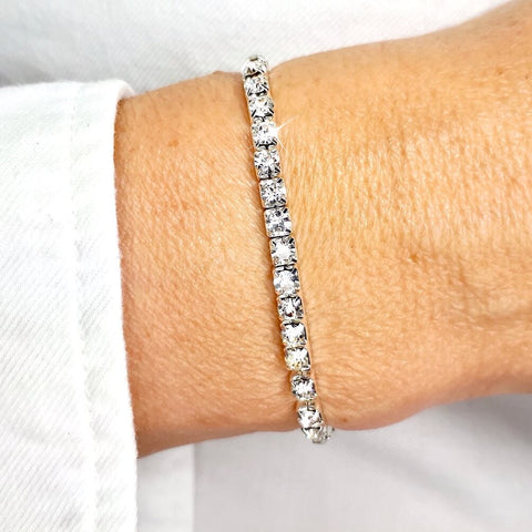 White Diamante Elastic Stretch Tennis Bracelet - AnnaJewelBox
