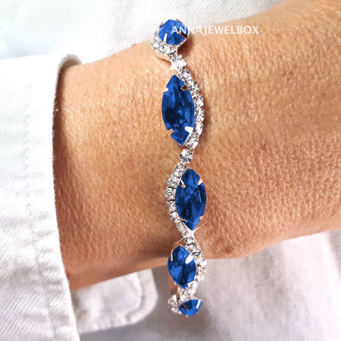 Royal Blue and White Cubic Zirconia Diamante Crystals Sparkling Bracelet - AnnaJewelBox
