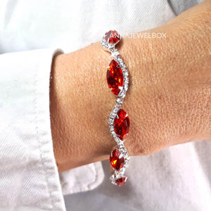 Red and White Cubic Zirconia Diamante Crystals Sparkling Bracelet - AnnaJewelBox