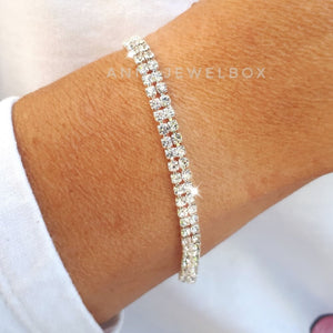 2 Rows White Diamante Tennis Bracelet - AnnaJewelBox
