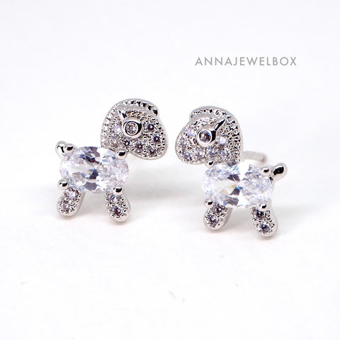 Sparking Diamante Crystals Silver Horse Stud Earrings