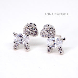 Sparking Diamante Crystals Silver Horse Stud Earrings - AnnaJewelBox