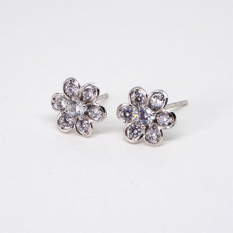 Image of Sparkling Diamante Flower Silver Bridal Stud Earrings - AnnaJewelBox