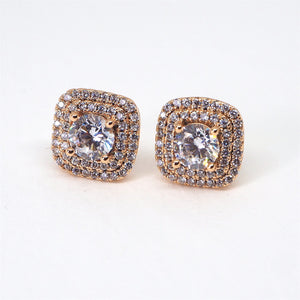 Lavish Sparkling Diamante Gold Bridal Stud Earrings - AnnaJewelBox