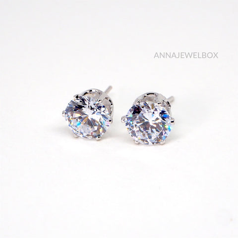 Sparkling Silver Diamante Statement Stud Earrings - AnnaJewelBox