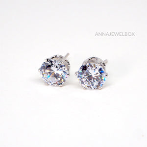 Sparkling Silver Diamante Bridal Stud Earrings - AnnaJewelBox
