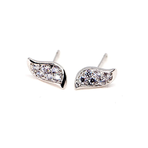 Sparkling Diamante Silver Guardian Angel Wings Stud Earrings - AnnaJewelBox