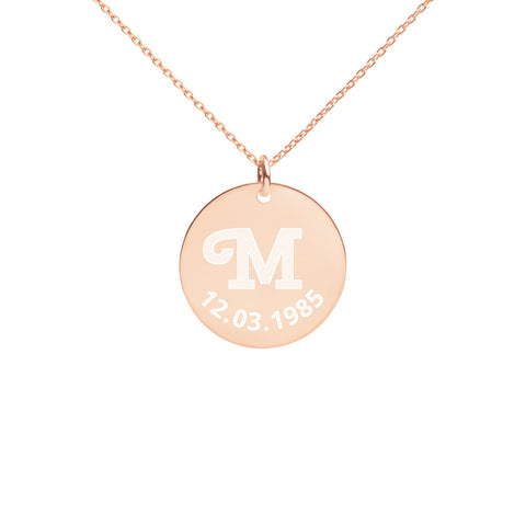 Personalised Engraved Initial Date Disc Necklace - AnnaJewelBox
